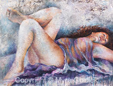 Blue Mood - Mixed Media Oil Painting by Myra Goldick